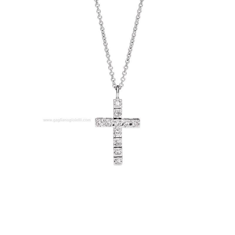 Collana Recarlo Facecube Xe 902 B018 Collana Con Croce Oro Bianco 750 Diamanti Diamanti Donna
