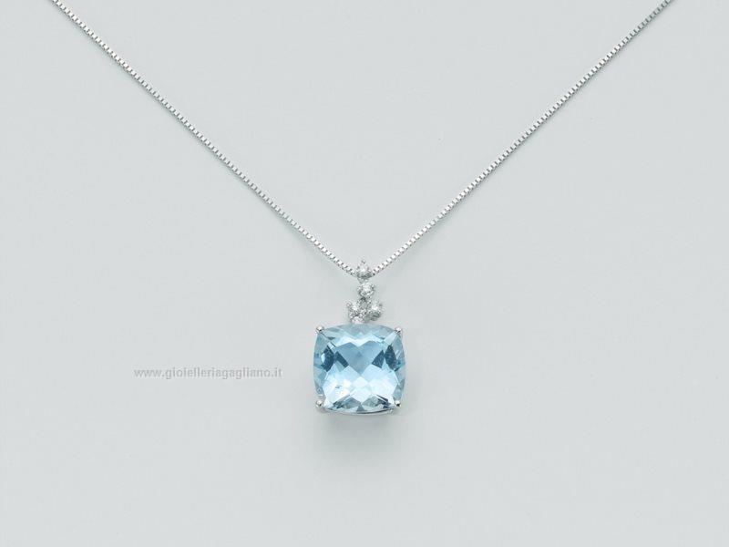 Preferenza Collana Yukiko topazio azzurro kcld2881y Oro bianco 750 Diamanti  BF17