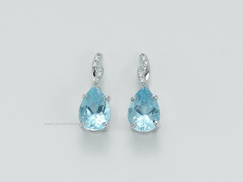 Favoloso Orecchini Yukiko topazio azzurro erd1506y Oro bianco 750 Diamanti  GH28