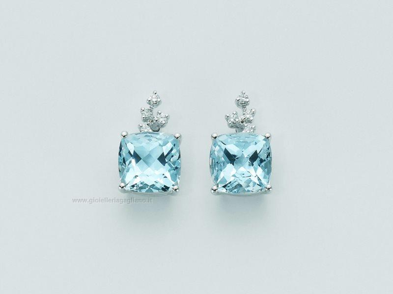 Popolare Orecchini Yukiko topazio azzurro kerd1293y Oro bianco 750 Diamanti  OK12